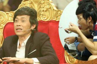 Hoài Linh ngồi bệt ăn cơm hộp ...